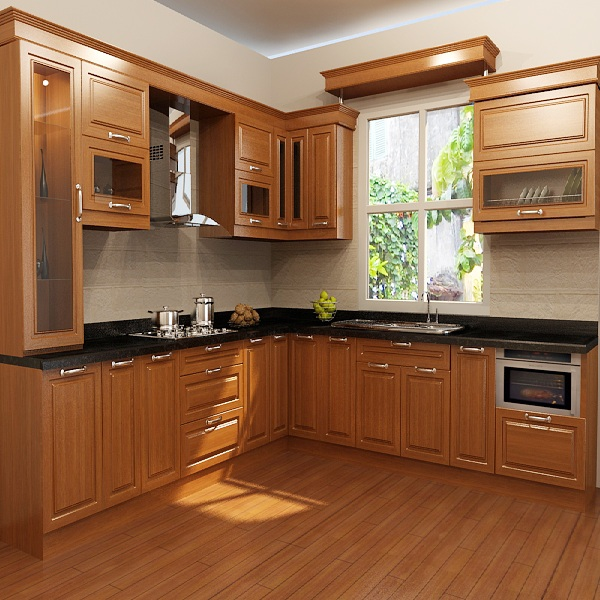 Tủ bếp gỗ CN HDF phủ veernia 1